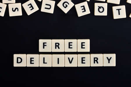 Free delivery word on the black background
