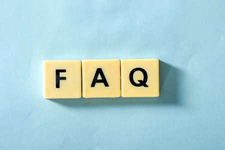Faq word on the blue background