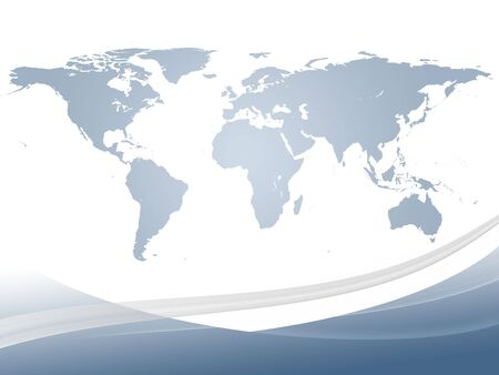 world ideas: Abstract dynamic background and world map in gradient light blue Stock Photo