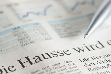 German newspaper close-up with the headline about stock hausse photo