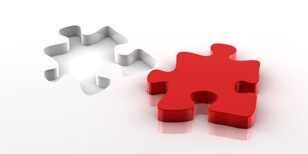 A red piece of a jigsaw puzzle fitting in the hole on the bottom Stock Photo - 6291173