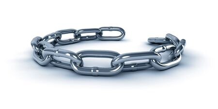 A 3d metal chain isolated on white background, blue colored photo