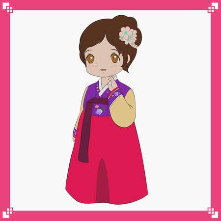 hanbok: Korean girl wearing traditional dress, Korean Hanbok vector illustration