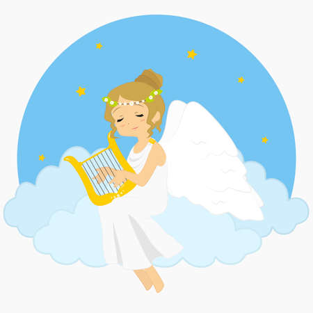 illustration of an angel sitting on clouds playing harp. blue circle background with stars