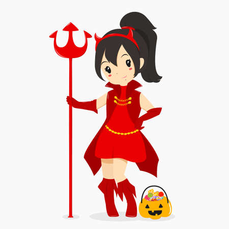headband: a girl wearing Halloween red devil costume and holding a trident, with a pumpkin bucket full of candies.