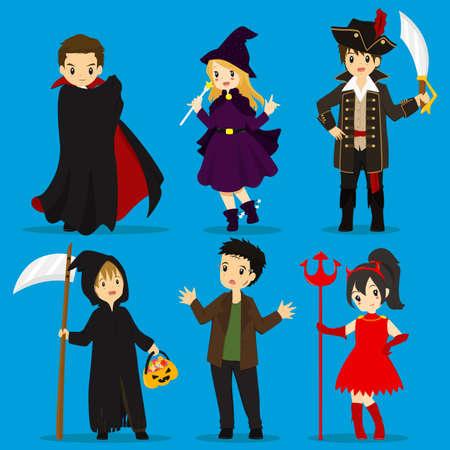 guadaña: Halloween costumes vector set : dracula, witch, pirate captain, grim reaper, frankenstein, devil.