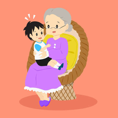 granny sitting happily in a rattan chair with her grandson on her lap Illustration