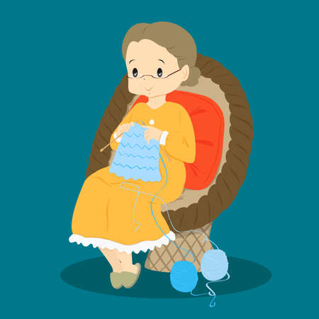 granny knitting while sitting in a rattan chair Illustration