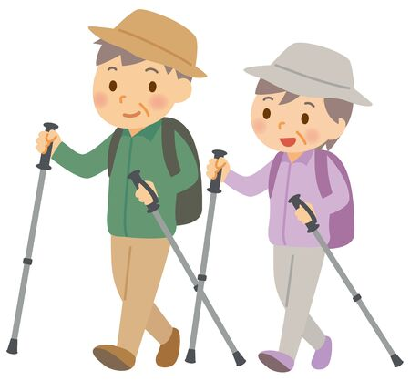Hiking Old Couple