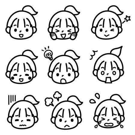 Girls face  イラスト・ベクター素材
