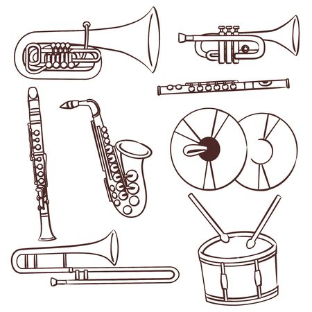 Set di disegni al tratto di banda del vento