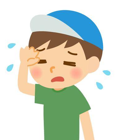 A sweaty boy