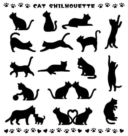 Silhouette of the cat of various poses Stock Illustratie