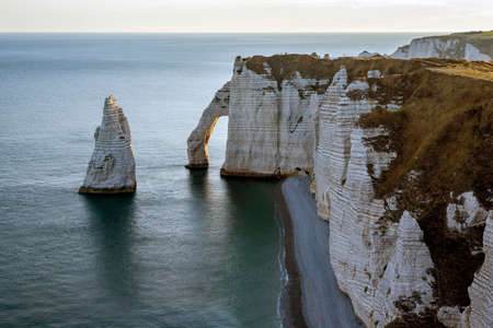 Cliffs of Etretat, Normandy, north of France, Europe. Stock Photo