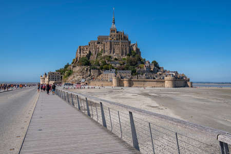 Tourists visiting Mont San Michael and its Abbey Editorial
