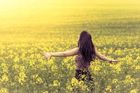 後ろから黄色い花の草原の美しい女性。魅力的な本物少女広い緑と黄色の草原で暖かい夏の太陽を楽しんでいます。シリーズの部分。