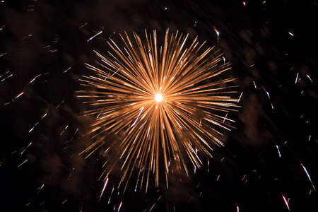 pyrotechnics: Great big bang fireworks explosion Illustrates the power of pyrotechnics