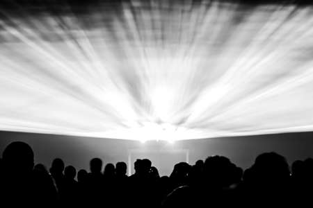 entertainment event: Laser show rays in black and white. Best visual show with a crowd silhouette and great laser rays for EC on illustration background of an invitation flyers