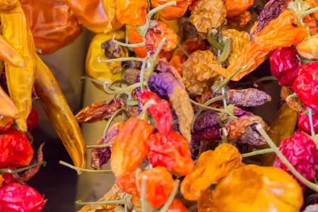 legumbres secas: Healthy dried vegetables tomatoes and hot pepper for nutrition. Delicious tomato and hot peppers for eg vegetarian food cuisine or a spicy organic diet. Perfect nutrition.