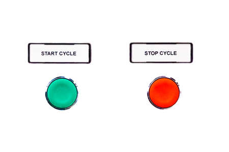 counterparts: Simple cycle buttons green start beside red stop button. Beginning and ending of a simple scheduling or time process. Begin and end are beside counterparts and isolated on white background.