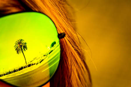 Vintage tropical luxury paradise beach palm glasses reflection. Exciting mirror imaging at sunglasses on head. Beautiful symbol of tourism vacation trip travelling to holiday dream island. Copypace. Foto de archivo - 102845864