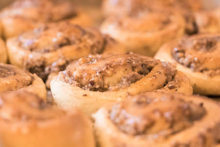 Tasty cinnamon rolls pastry with sugar frosting nuts stuffing. Delicious leavened dough pastries for breakfast, dessert or brunch. Yummy juicy backed traditional goods from bakery or confectionery. Reklamní fotografie