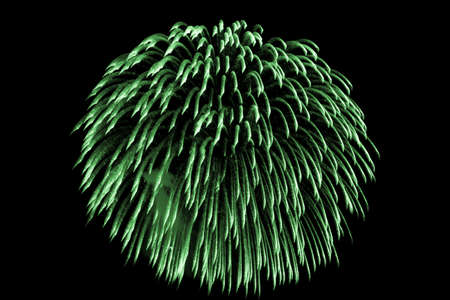 Luxury beautiful green fireworks event sky shower. Premium entertainment magic star firework at eg New Years Eve or Independence Day party celebration. Black dark night background.