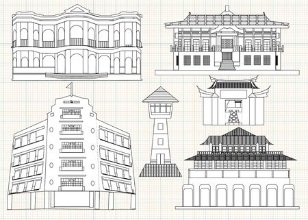 illustration of Tainan historic relics 스톡 콘텐츠 - 130398781