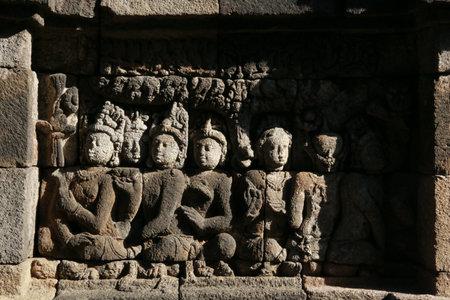 Relief Borobudur temple, wall texture of Borobudur temple Indonesia.