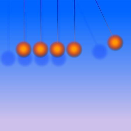 hanging red baubles against a blue background