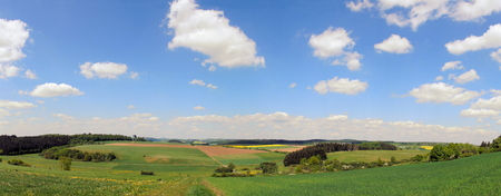 Meadow valley in the Eifel panorama