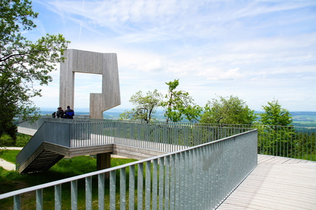 Wind sound body in the Hunsrueck with observation deck 版權商用圖片