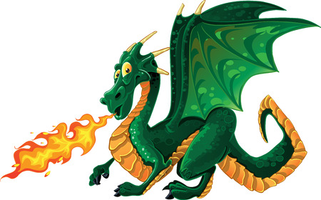 dragon cartoon:  vector fabulous magical green fire-spitting dragon Illustration