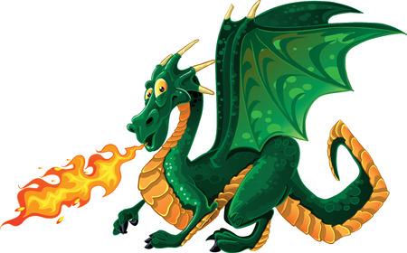 castello medievale:  vettore favoloso magico verde sputare fuoco drago