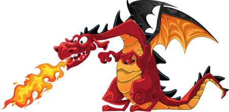 cartoon prince: vector fabulous magical fun red fire-spitting dragon