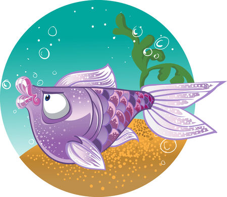 Light violet  Fish on the bacground Vector