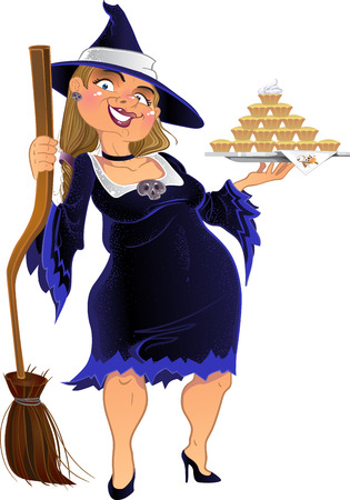 Real dark witch with cake. vector Vector