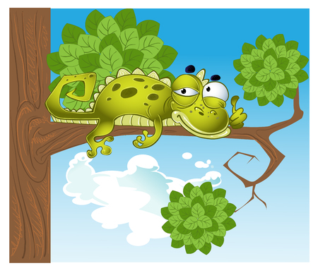 weakening: green vector lizard on the branch Illustration