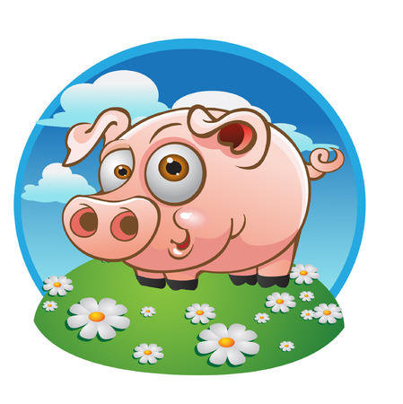 vector young pig on the color background Vector
