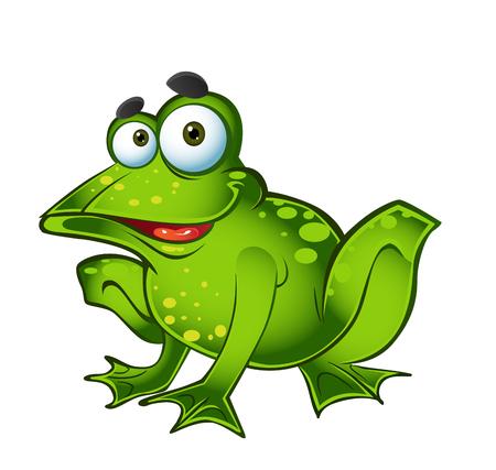 smiling frog: rana verde sonriente de vector Vectores
