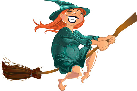 cheerful witch on the broom Vector