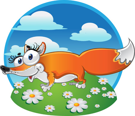 Cheerful Fox on the background Stock Vector - 6052883
