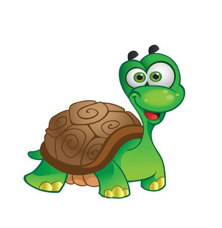 tortue de terre: Tortue de dessin anim� de vecteur sur fond blanc Illustration