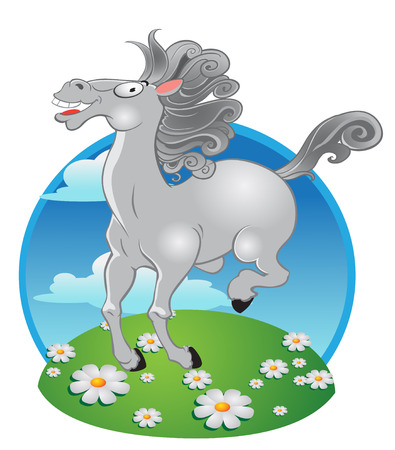 animal idiot: vector white horse on a color background Illustration