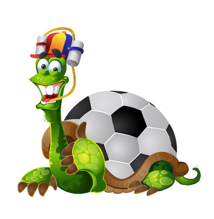 fandom: vector turtle football fan on white background Illustration