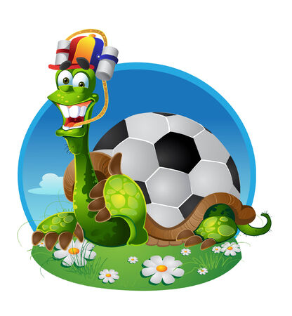 turtle football fan on white background Vector