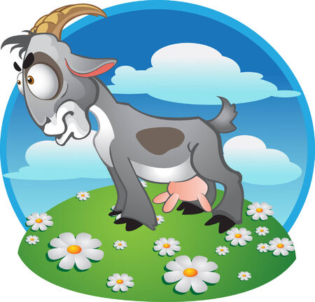 goat with spot on background Stock Vector - 6098944