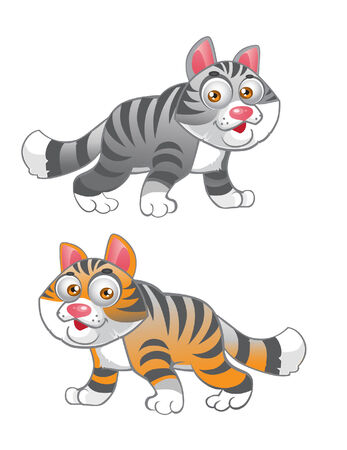 grey and red vector cats Vector