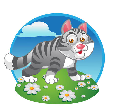 grey cat on the color background Stock Vector - 6098948
