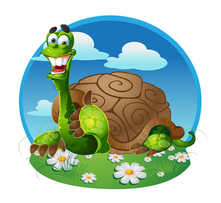 turtle on color background Vector